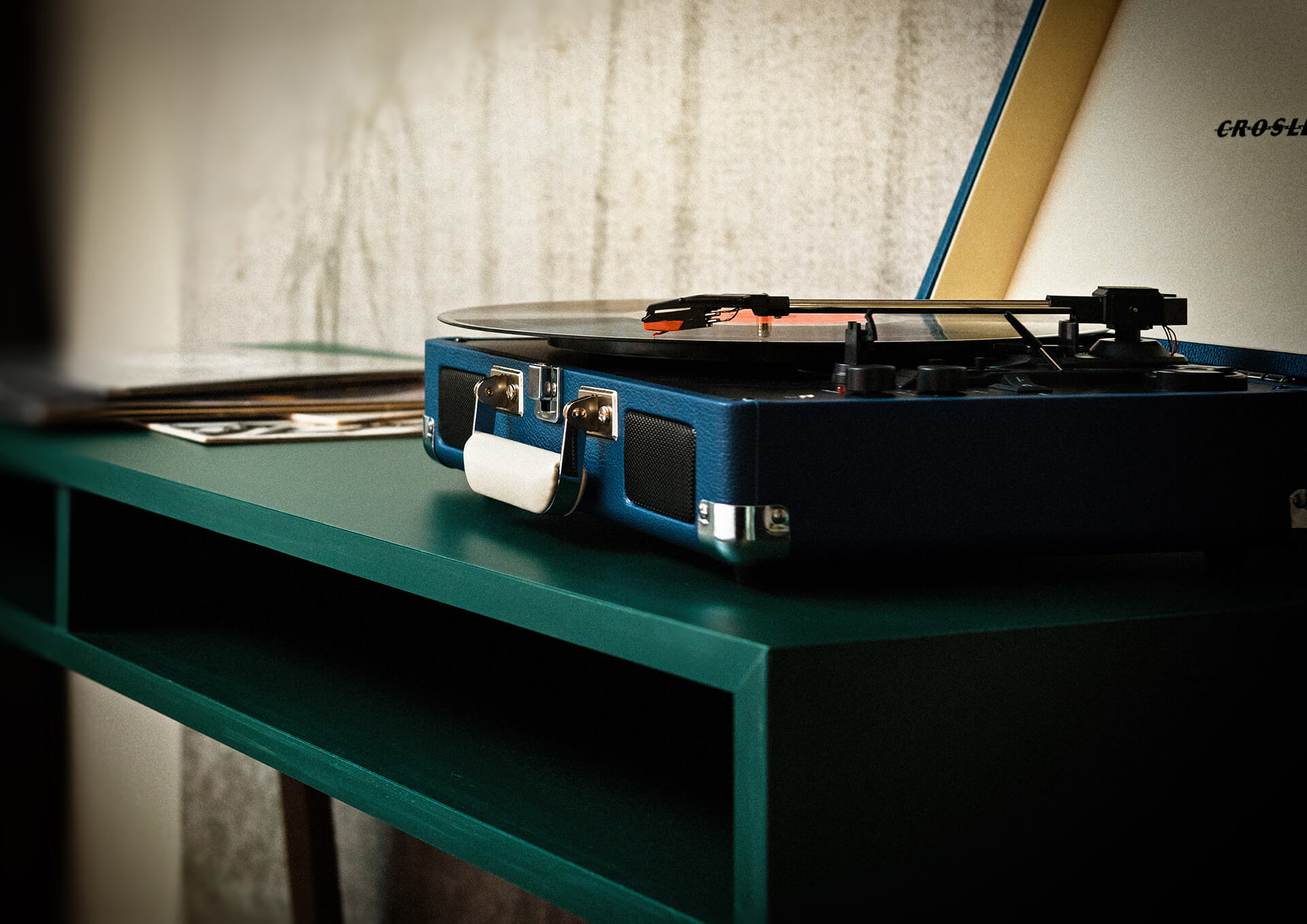 design writing desk with record player